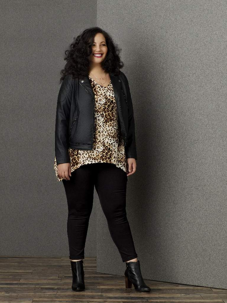 Sears SImply Emma Plus Size Faux Leather Jacket, Leopard Tee and Ponte Pants
