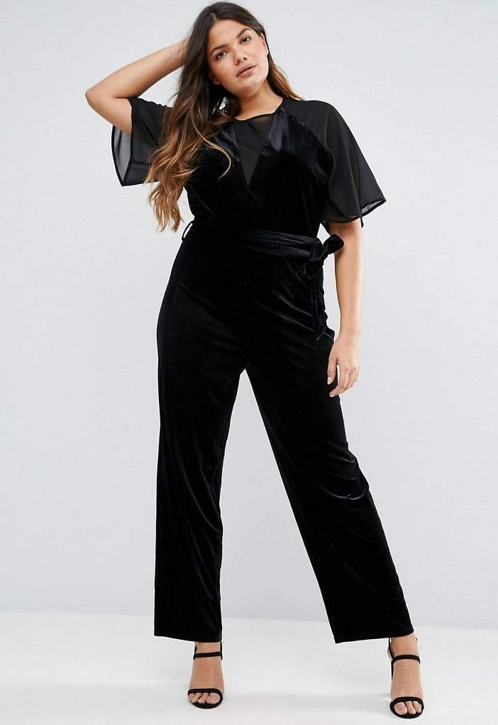 Truly You Plus Size Velvet Jumpsuit With Mesh Insert