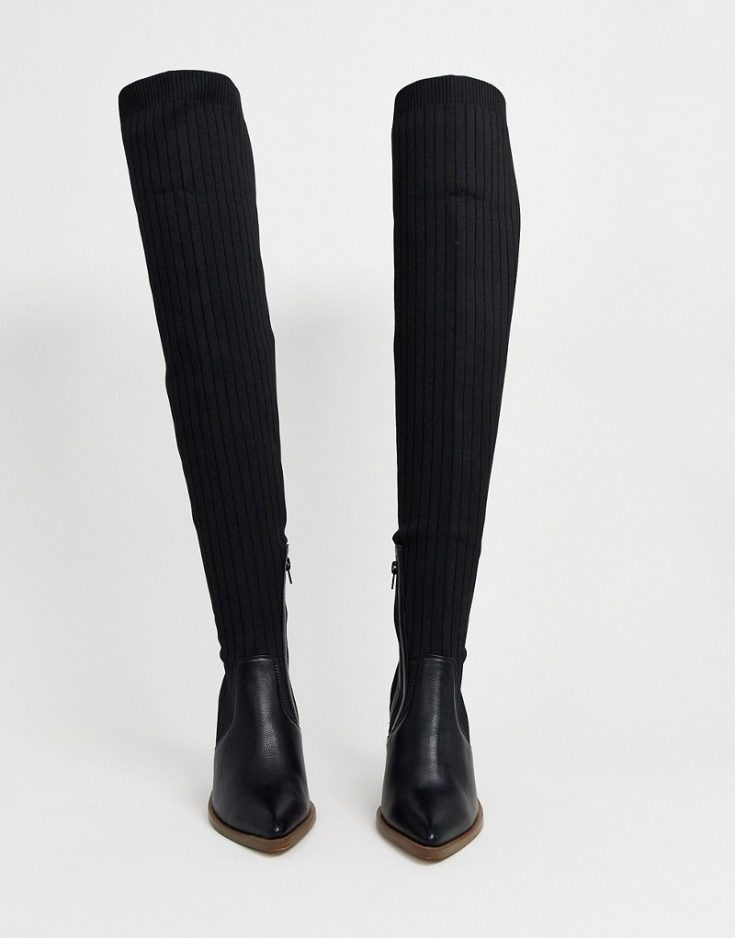 ASOS DESIGN Wide Fit Kansas western thigh high boots in black