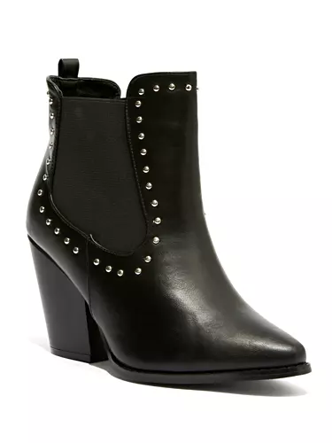 Black Stud Detail Pointed Toe Booties - Wide Width - Fashion To Figure