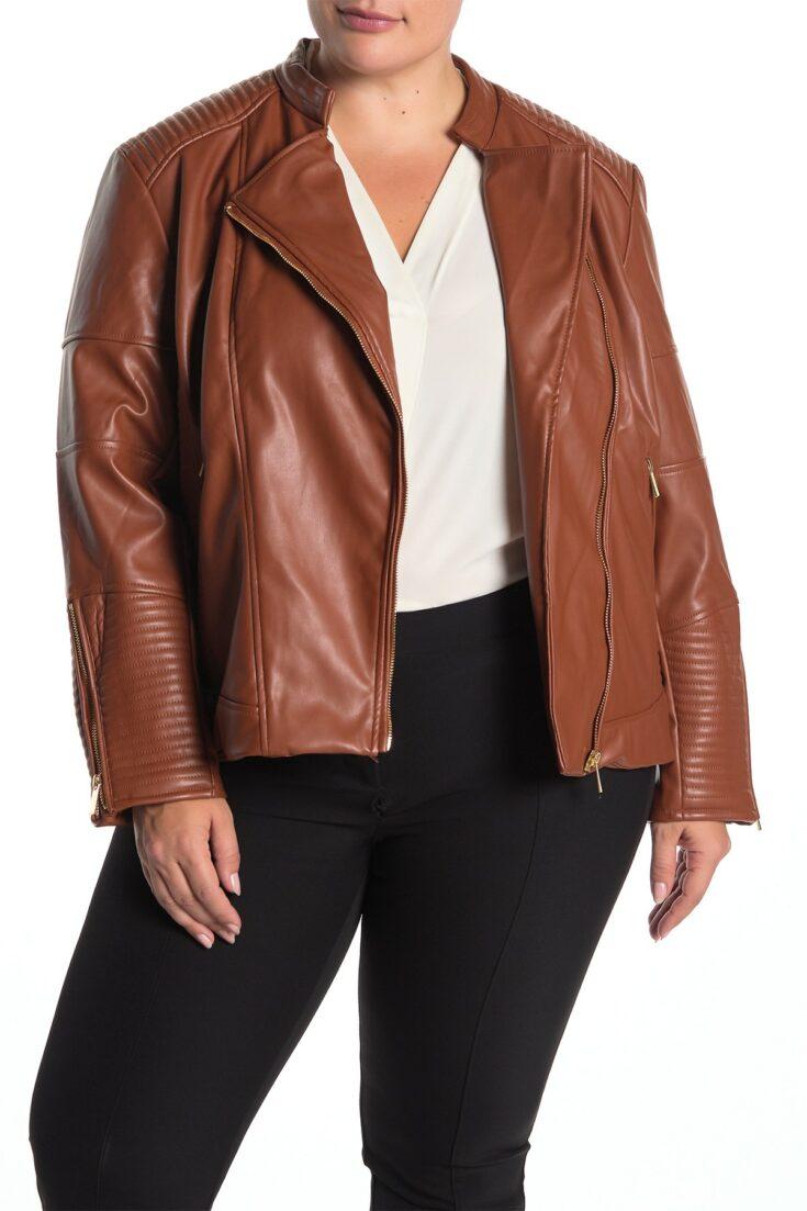 Catherine Catherine Malandrino Faux Leather Zip Moto Jacket