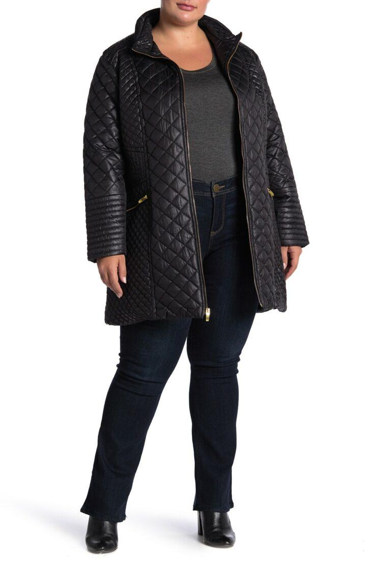 Via Spiga Diamond Quilted Zip Front Jacket