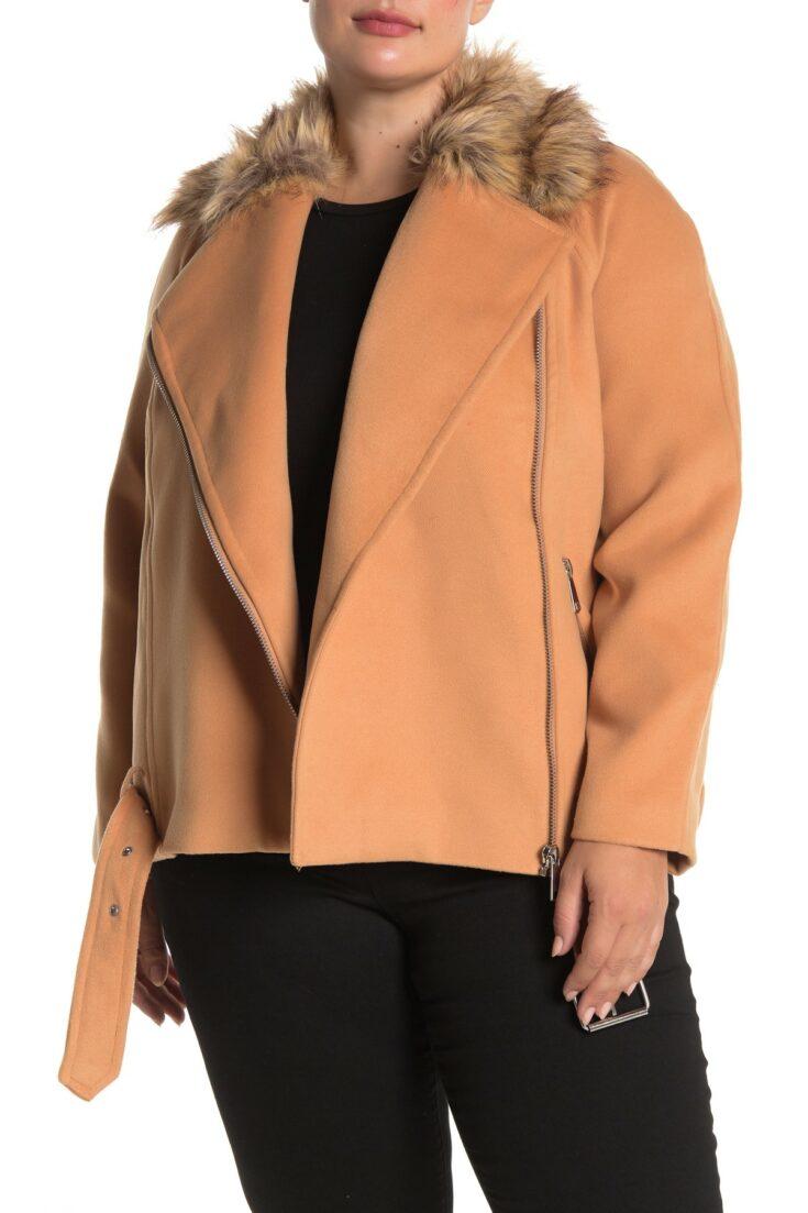 ELOQUII Faux Fur Collar Moto Jacket