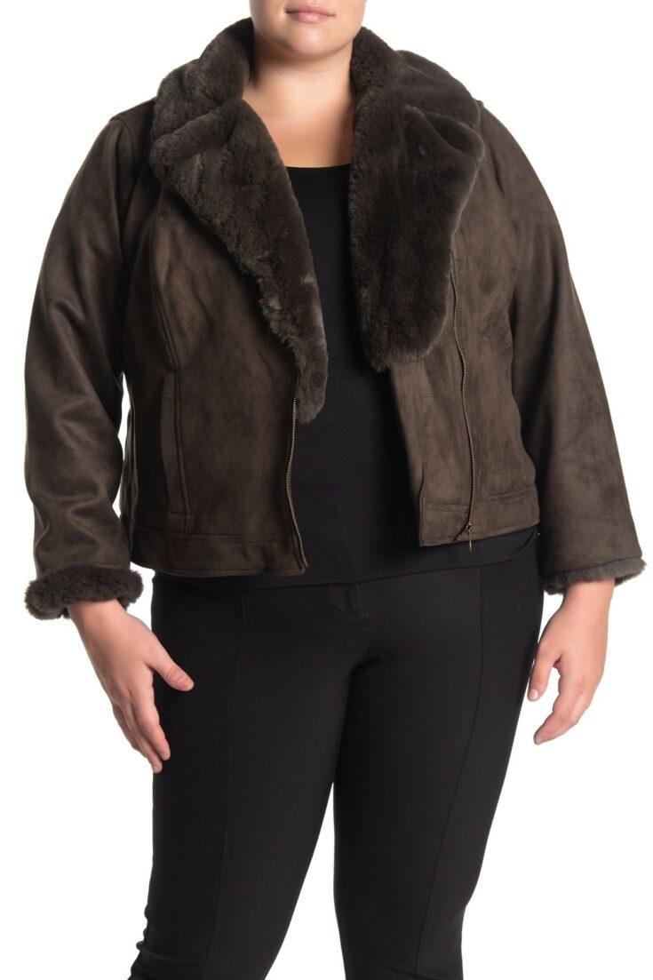 Catherine Catherine Malandrino Faux Fur Trim Faux Suede Zip Jacket