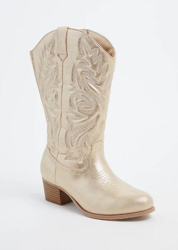 Gold Faux Leather Stitched Cowboy Boot (Wide Width)