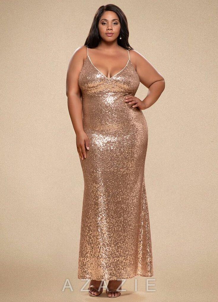 Glamorous Rose Gold Sequin Maxi Dress
