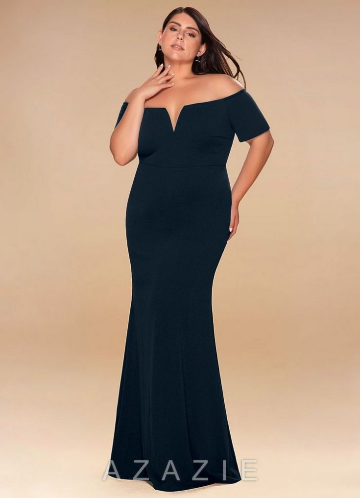 Kendall Navy Blue Off-The-Shoulder Maxi Dress