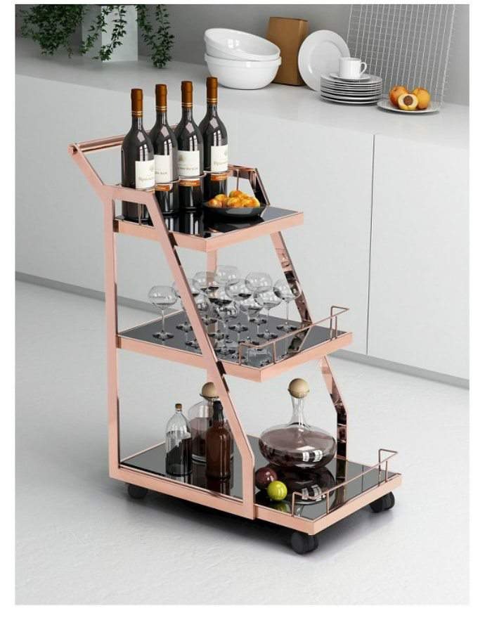 Acropolis Serving Cart in Rose Gold