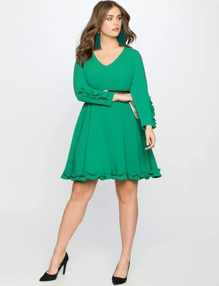 Ruffle Trim Crepe Dress at Eloquii.com