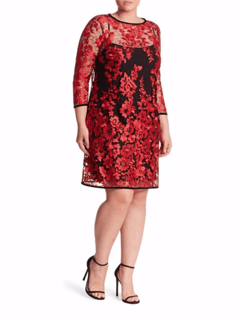 ABS Plus Size Embroidered Lace Shift Dress