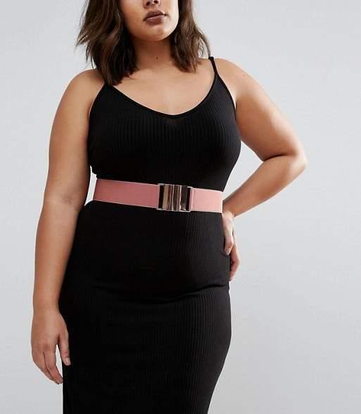 ASOS CURVE Pink Rose Gold Elastic Waist Belt