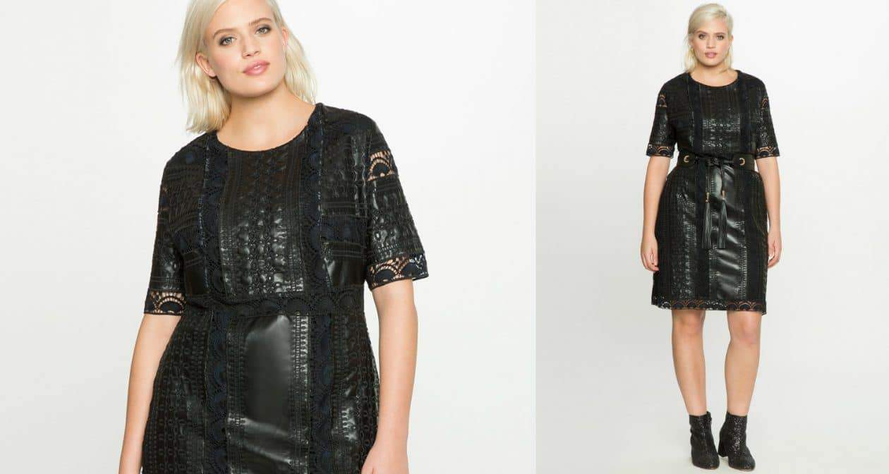 Eloquii Gotta Have It- Plus SIze Faux Leather eyelet dress