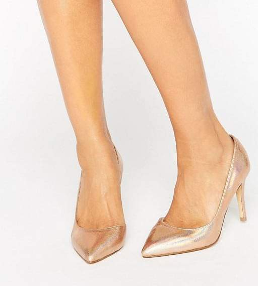 Faith Wide Fit Cliff Rose Gold Metallic Cut Out Pumps
