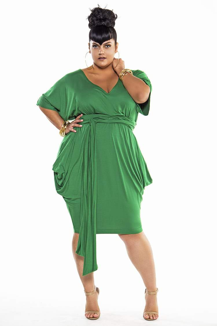 Patone 2017 Color of the year- Greenery: Jibri Bat Sleeved VNeck Slouch Dress