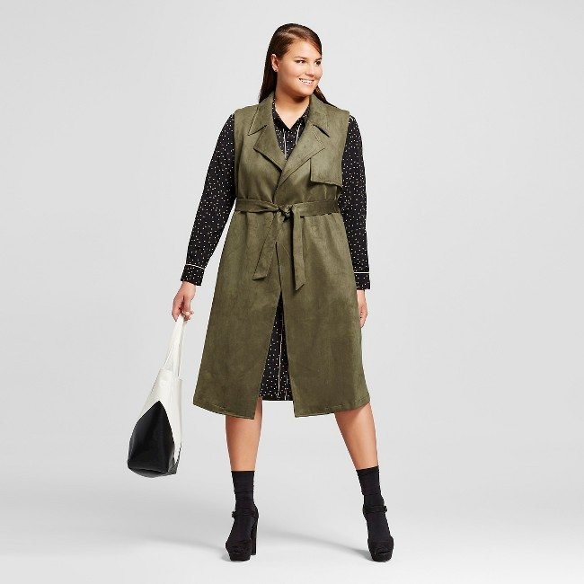 Plus Size Suede Sleeveless Trench Vest
