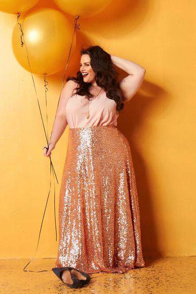 Society plus rose gold sequin maxi skirt