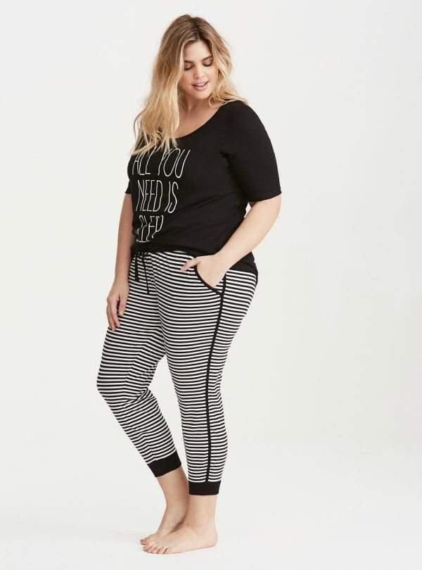 Plus Size Sleep All You Need Tee and Striped Crop Leggings