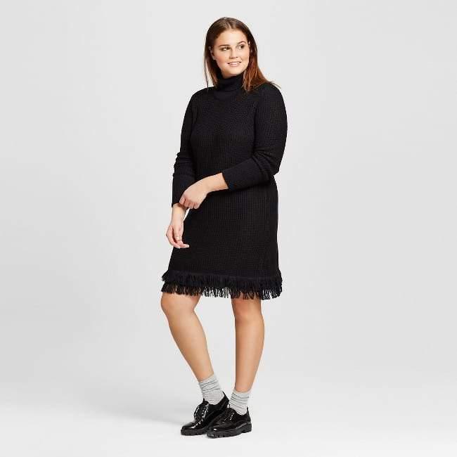 Women's Plus Size Fringe Turtleneck Tunic Dress-Who What Wear ™