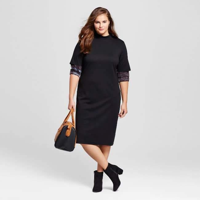 Women's Plus Size Mock Neck Tee Dress - Who What Wear™