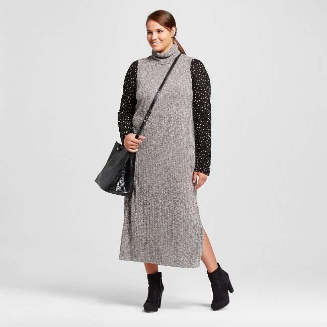Plus Size Sleeveless Turtleneck Dress