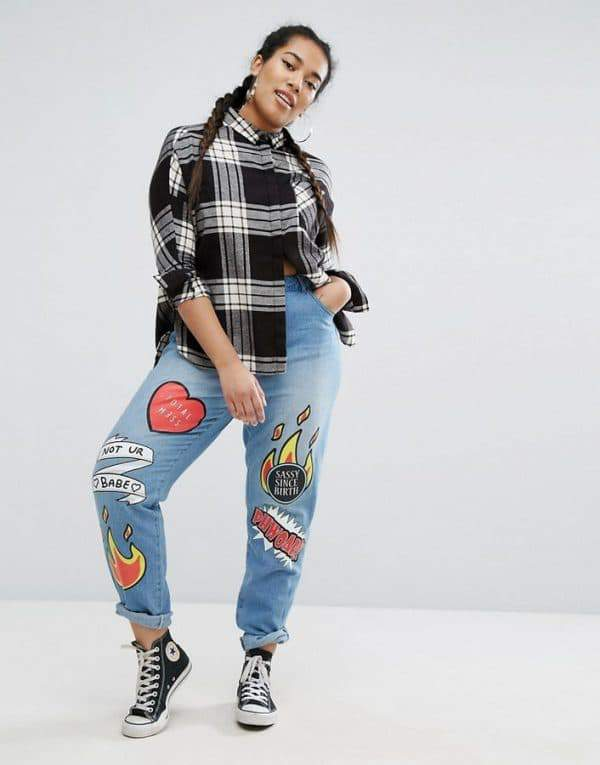 Daisy Street Plus Boyfriend Jean with Patchwork Detail