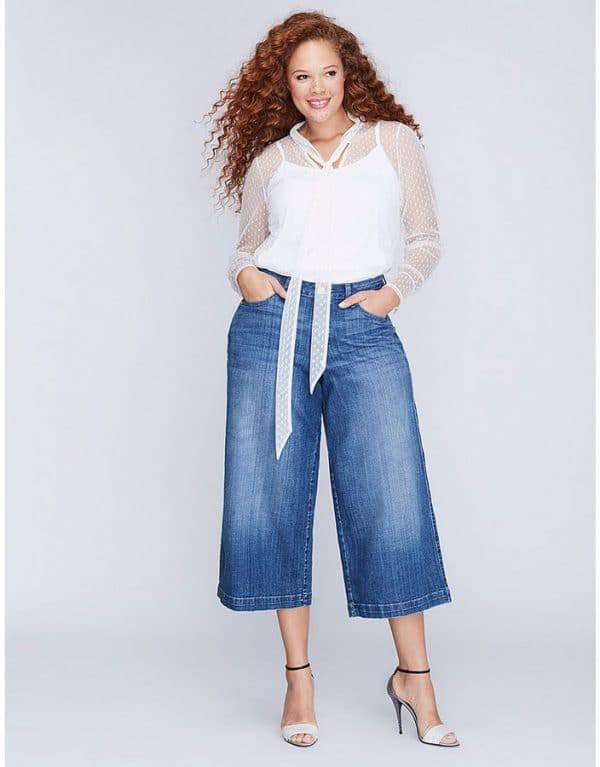 Wide Leg Plus Size Denim Capri