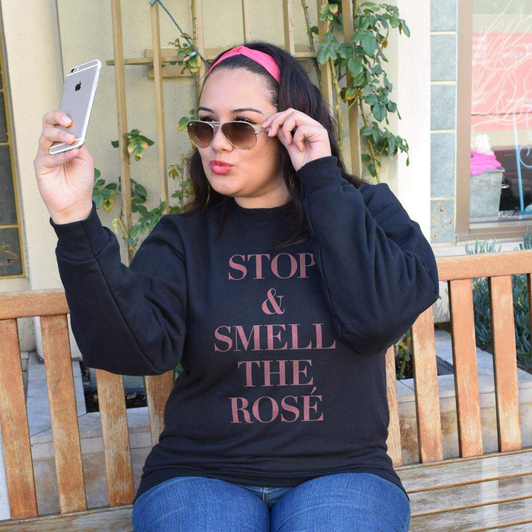 Stop and smell the rose plus size sweatshirt