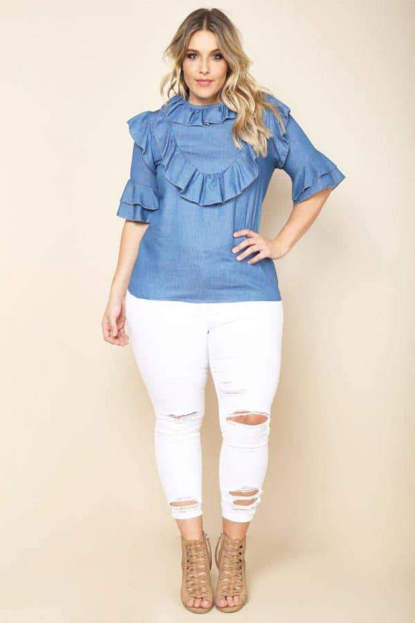 Plus Size Ruffled Bib Chambray Blouse