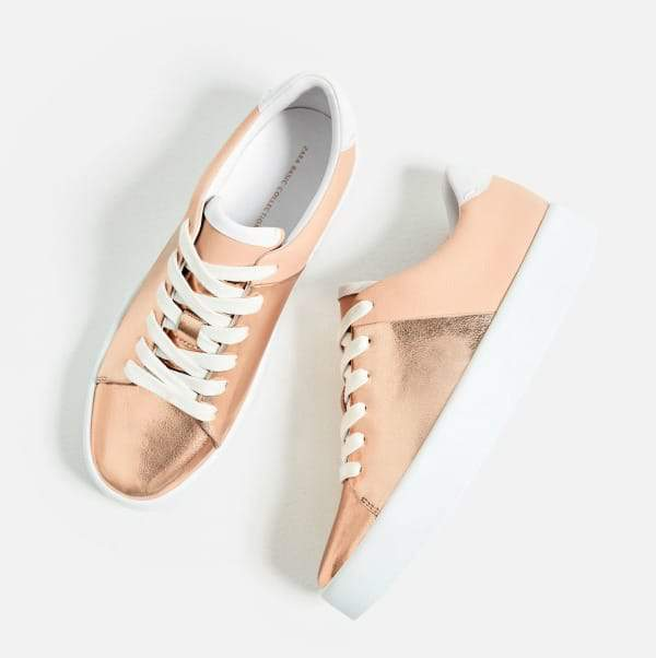 Rose Gold Sneakers- Laminated Chunky Sole Plimsolls