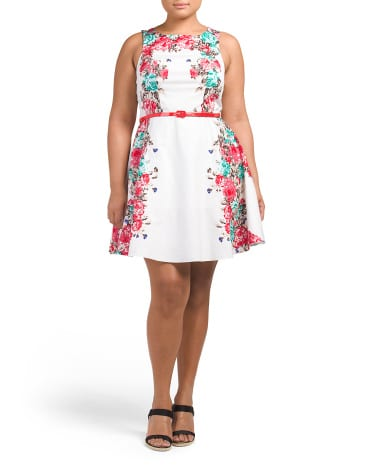 Bailey Blue Plus Juniors Floral Poplin Belted Dress