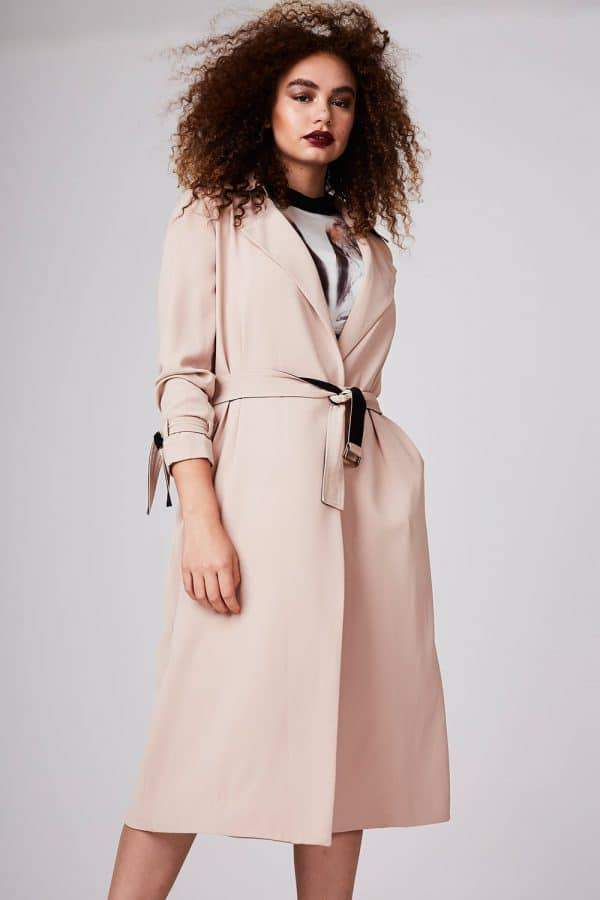 Elvi Belted Long Plus Size Trench Coat
