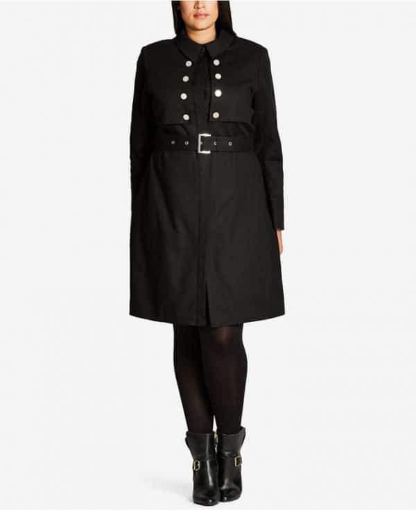 Black Liason Plus Size Trench Coat
