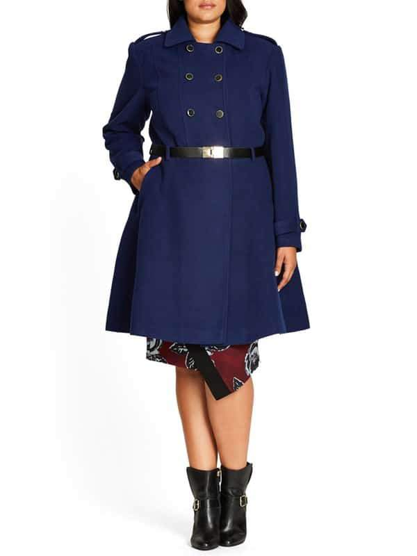 Double Agent plus size Belted Coat