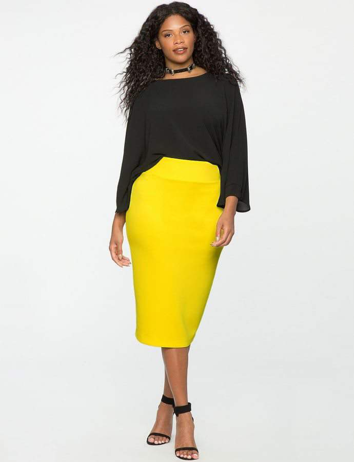 Eloquii 7 Must Rock, Yellow, Plus Size Faves- Neoprene Pencil Skirt