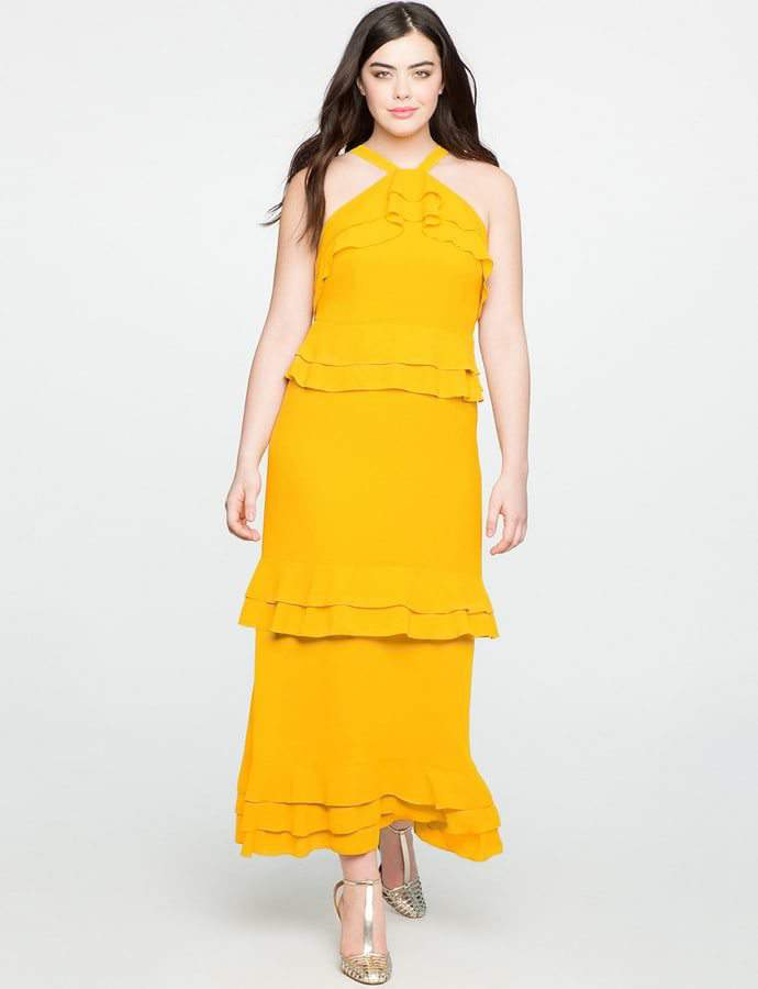 Eloquii 7 Must Rock, Yellow, Plus Size Faves- Studio Flounce Tiered Dress