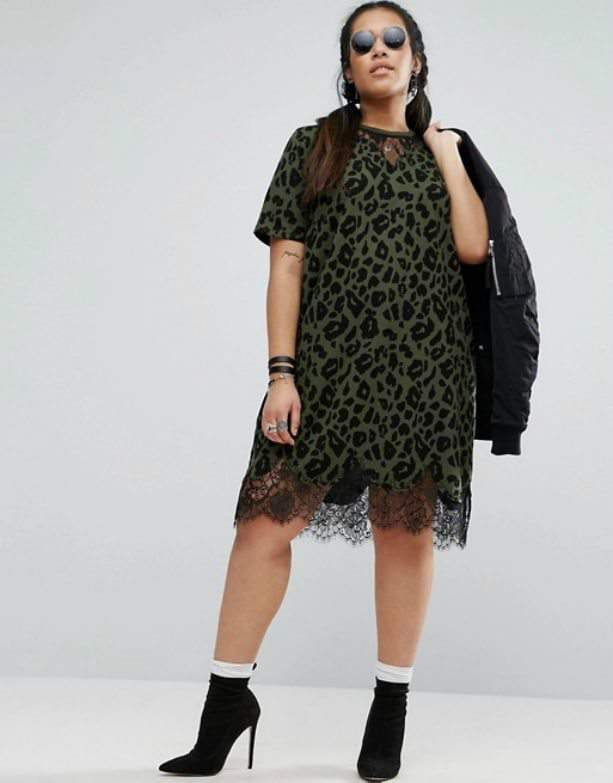 Want Plus Size Fashion on a Budget? T-Shirt Dress with Lace Inserts in Leopard Print