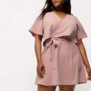 Plus pink cold shoulder frill tea dress