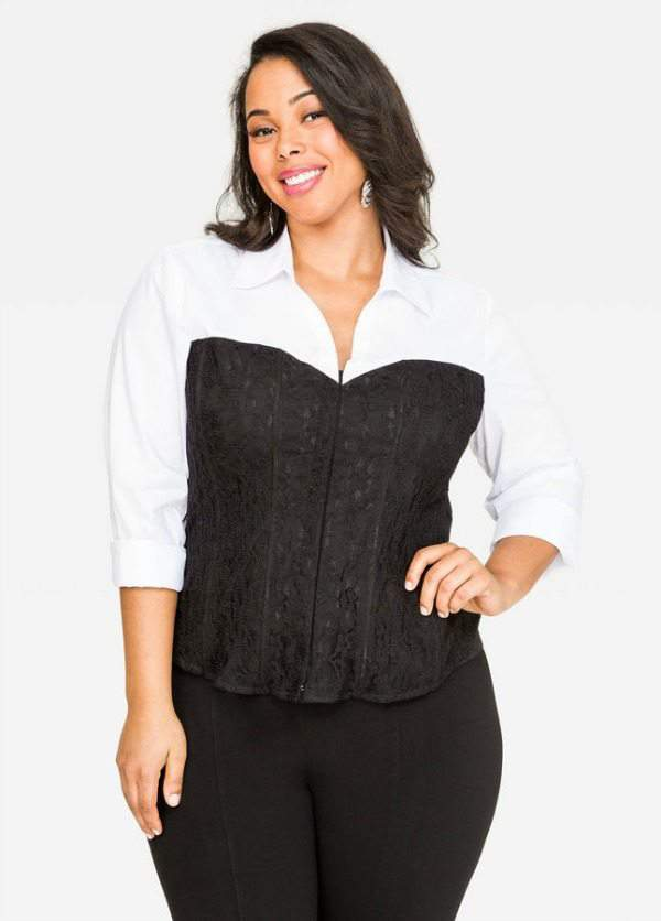 Plus Size Lace Bustier Shirt at Ashley Stewart