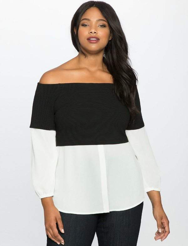 Long Sleeve Off the Shoulder Twofer Top at Eloquii.com