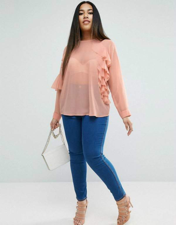 ASOS CURVE Sheer Top with Raw Edge Ruffle