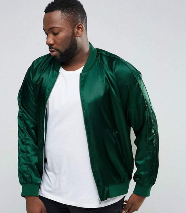 ASOS PLUS Sateen Bomber Jacket in Bottle Green at Asos.com