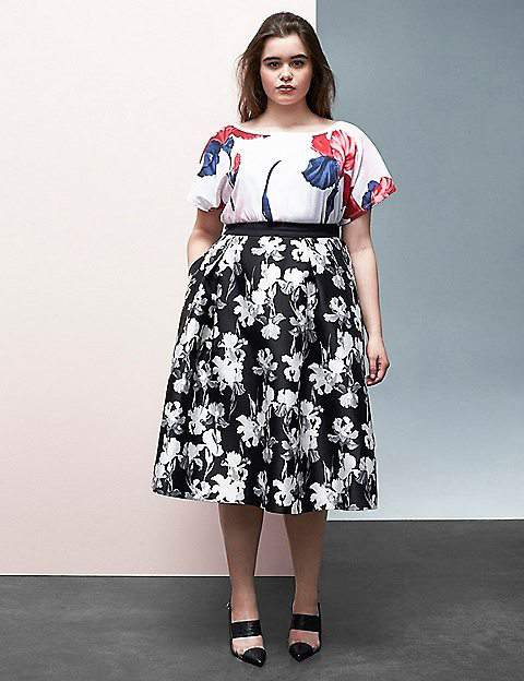Black & White Floral Circle Skirt By Prabal Gurung