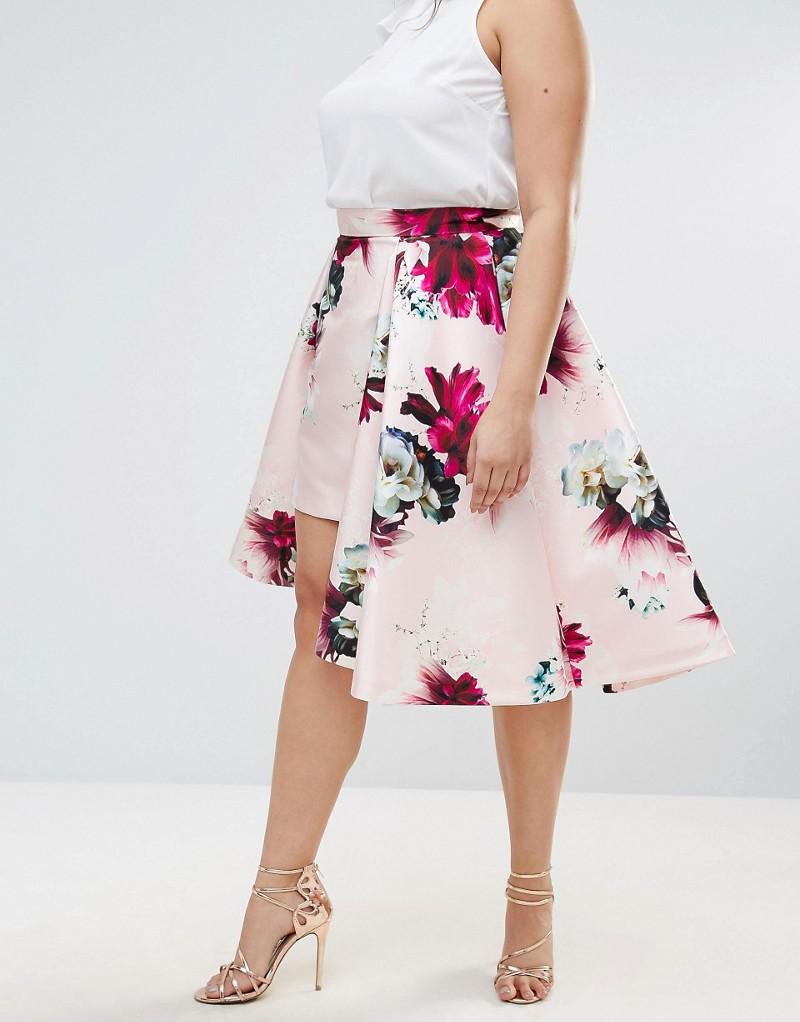 Coast Plus Size Toulouse Floral Printed Overlay Hem Midi Skirt