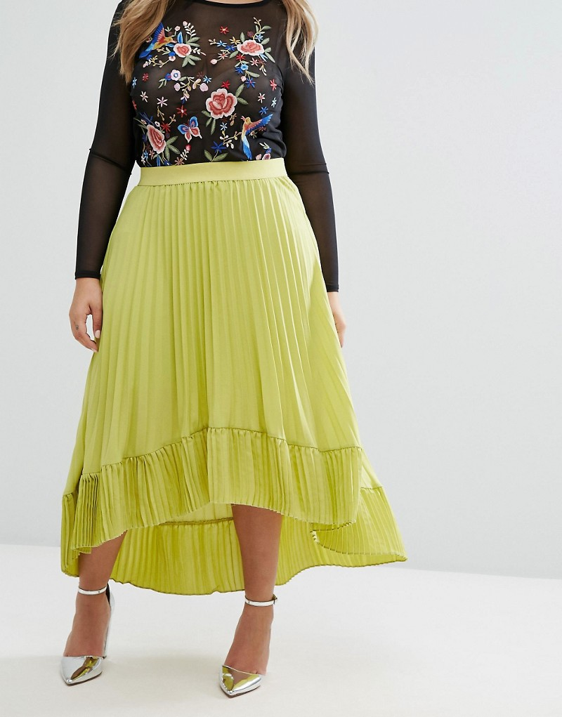 Lost Ink Plus Pleated Dip Hem Skirt