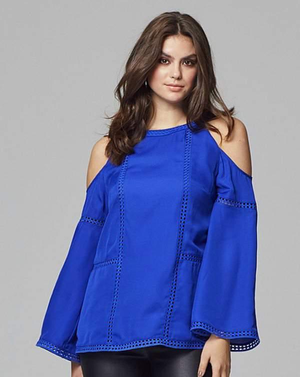 Lovedrobe Cold Shoulder Bell Sleeved Top at SimplyBe.com