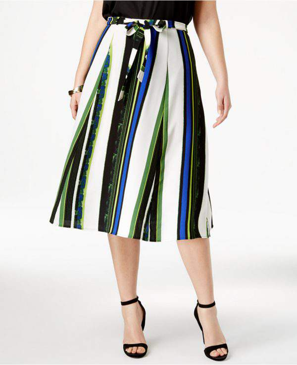 NY Collection Striped Midi Skirt