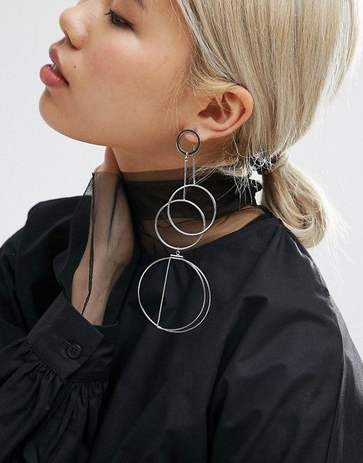 Open Statement Circle Drop Earrings at Asos