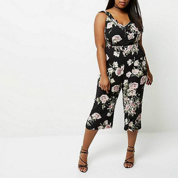 7 Stylish Spring Plus Size Must-Haves From River Island- Black Floral Back Tie Culotte Jumpsuit