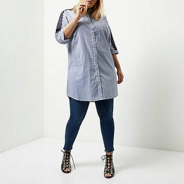 7 stylish plus size spring must-haves from River Island-Plus blue stripe lace sleeve shirt dress
