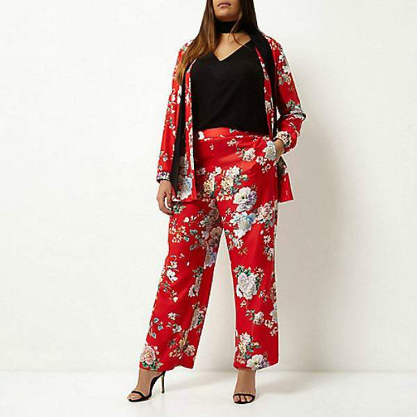 7 stylish plus size spring must-haves from River Island-Red Floral Print Wide Leg Pants